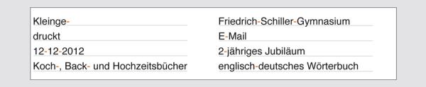 Beispiel Bindestrich